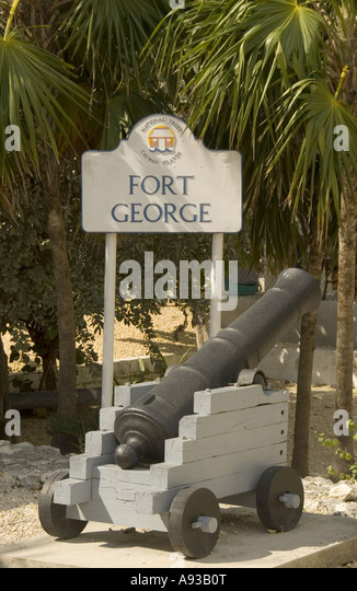 George Town Grand Cayman Fort George cannon - Stock Image