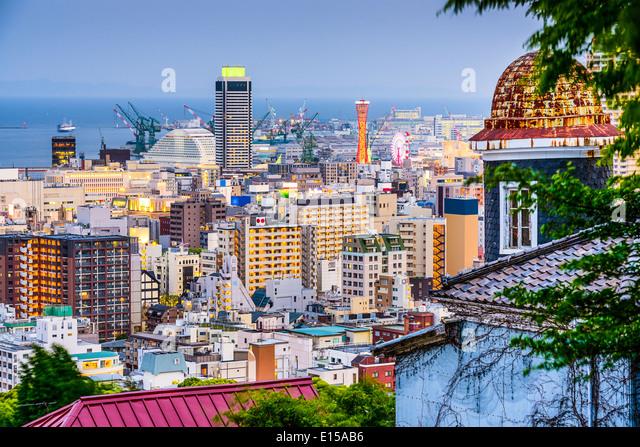 Kobe, Japan skyline from the Kitano District. - Stock Image