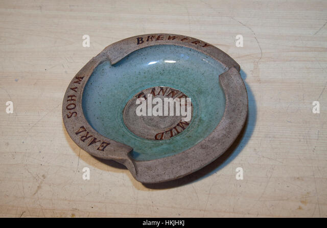 Unusually shaped Earl Soham Brewery ashtray - Stock Image