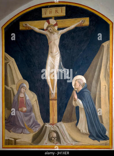 Crucifixion with the Virgin Mary and St Dominic, Cell 30, by Fra Beato Angelico, 1441-1442, Convent of San Marco, - Stock Image