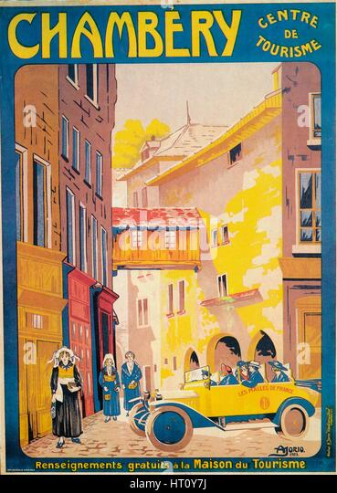 Advertisement for tourism at Chambery, France, c1920s. Artist: Unknown. - Stock Image