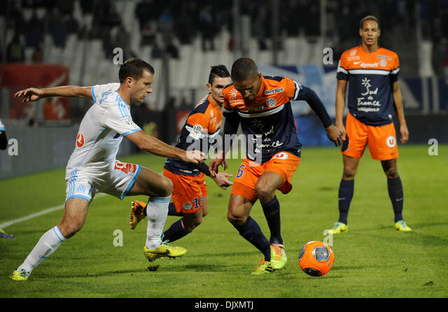 Marseilles, France. 29th Nov, 2013. French League 1 football. Marseilles versus Montpellier. Cheyrou (OM) - Marveaux - Stock Image