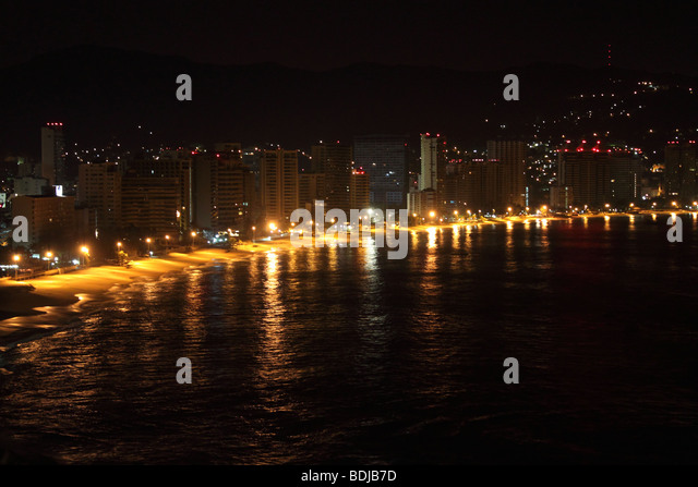 night view of acapulco bech in guerrero state, mexico - Stock Image