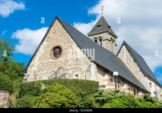 France, Eure, Saint Georges du Vievre, Saint Georges parish church - Stock Image