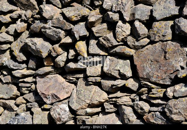 Stone wall Aracena Andalucia, Sierra de Aracena, Andalucia, Spain - Stock Image