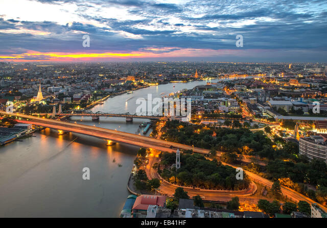 View of Bangkok city along Chao phraya River - Stock Image
