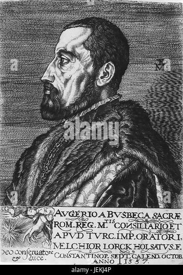 OGIER GHISELIN de BUSBECQ (1522-1592) Flemish diplomat, writer and herbalist - Stock-Bilder