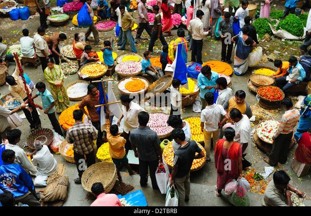 Flower Market, Bangalore, Karnataka, India, Asia - Stock-Bilder