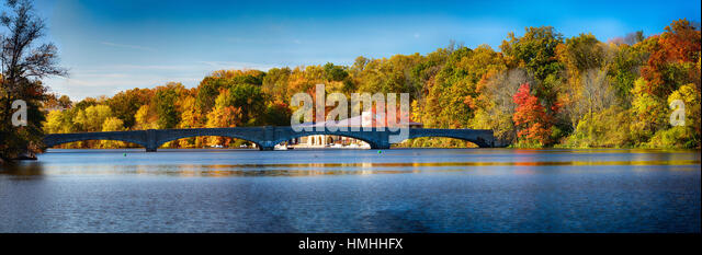 Panoramic View of the Washington Road Bridge with the Shea Rowing Center, Princeton, New Jersey - Stock Image