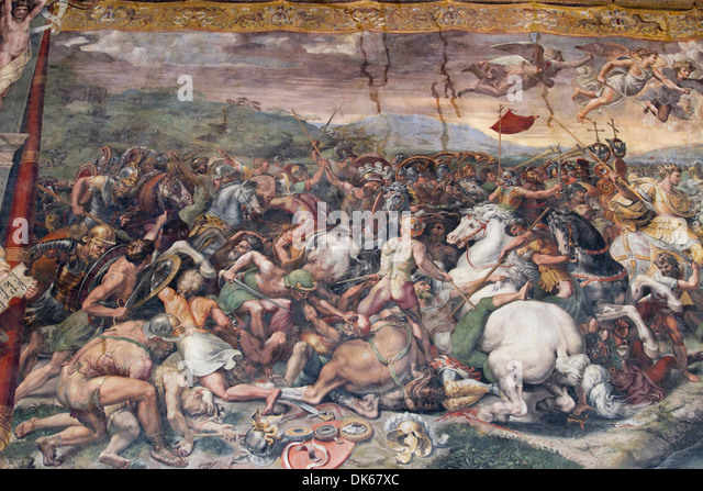 Detail from The Battle of the Milvian Bridge, a fresco designed by Raphael (Raffaello Sanzio da Urbino) - Stock Image