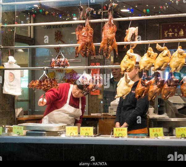 Kitchen Impossible Peking Ente: Ducks In Window Chinese Restaurant Stock Photos & Ducks In