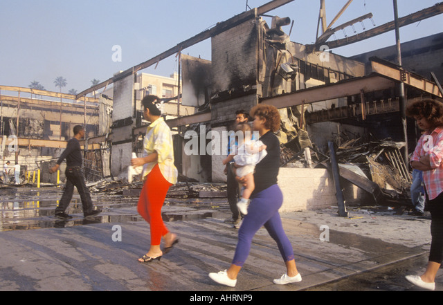 Buildings burned during 1992 riots South Central Los Angeles California - Stock Image