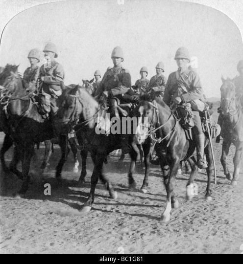10th Hussars after repulsing a Boer attack, Colesberg, South Africa, 4th January 1900. - Stock Image