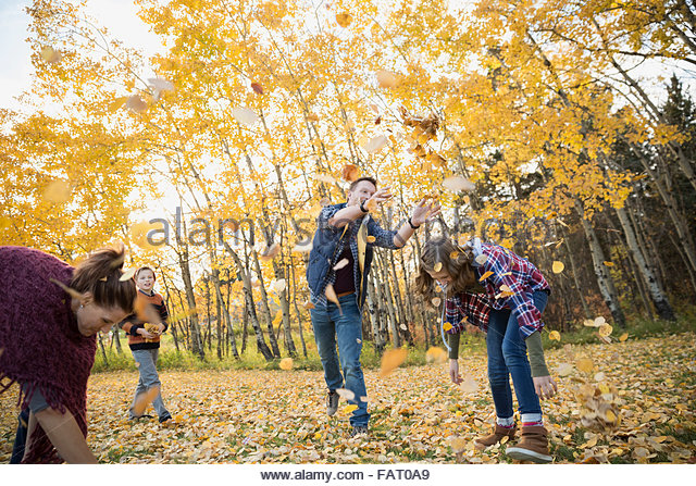 Family playing throwing autumn leaves - Stock Image