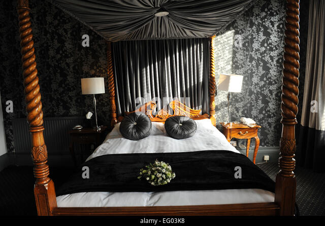 Four poster honeymoon bridal suite, Yorkshire UK - Stock Image