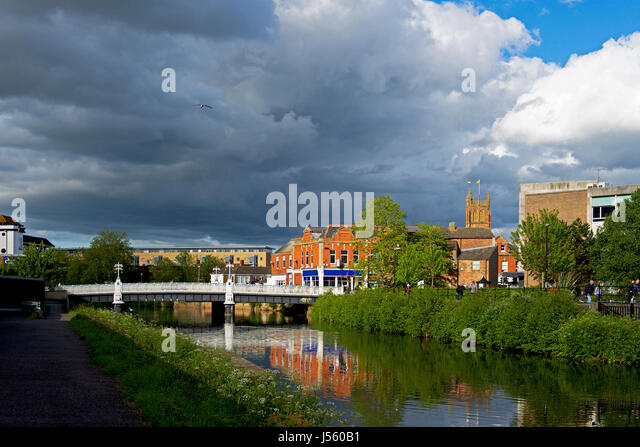 The River Tone in Taunton, Somerset, England UK - Stock Image