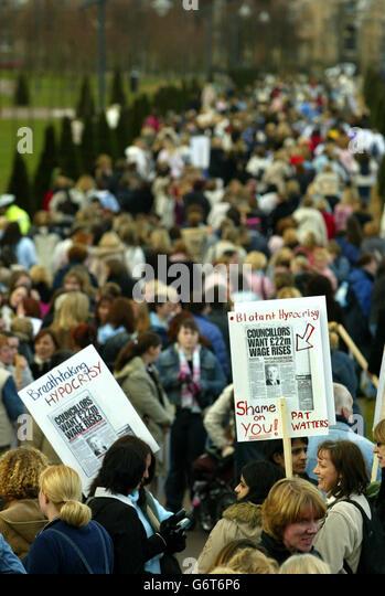 Scottish nursery nurses protest rally - Stock Image