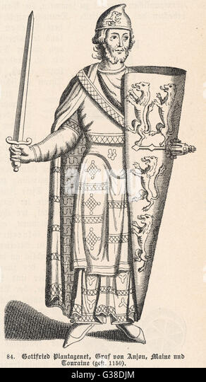 GEOFFREY PLANTAGENET, COUNT OF ANJOU Father of Henry II of England,  and founder with his wife,  Matilda, daughter - Stock Image