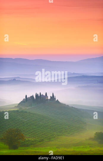 Val d'Orcia at dawn, Tuscany, Italy - Stock-Bilder