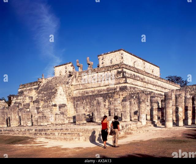 Mexico Chichen Itza Maya Ruins Yucatan Group of thousand column  - Stock Image