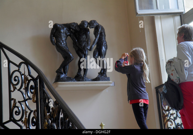 Paris France Europe French 7th arrondissement Musée Rodin Rodin Museum Hôtel Biron art sculpture stairs - Stock Image