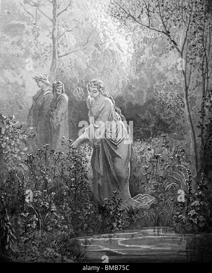 Engraving by Gustave Doré from Dante Alighieri's Divine Comedy; Dante and Virgil meet Matelda in the Garden - Stock Image