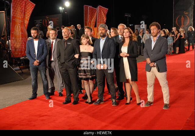 Celebrities and famous Turkish Film Stars on the Antalya Golden Orange Film Festival's Red Carpet - Stock Image