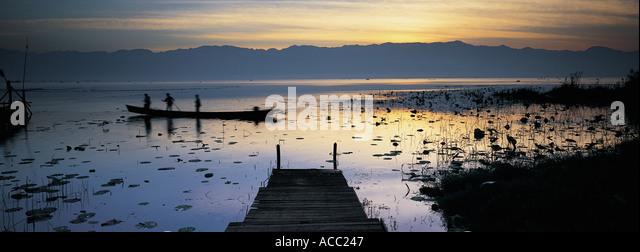 Pier at Inle Burma - Stock-Bilder