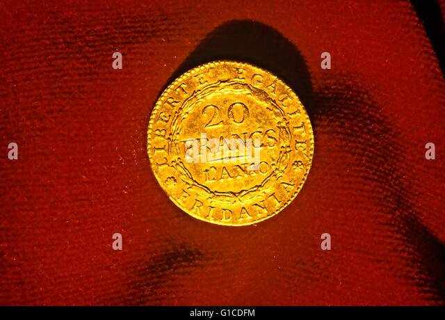 The marengo, or Napoleon, is a gold coin worth 20 francs coined in 1801 by Subalpina Republic to celebrate the victory - Stock Image