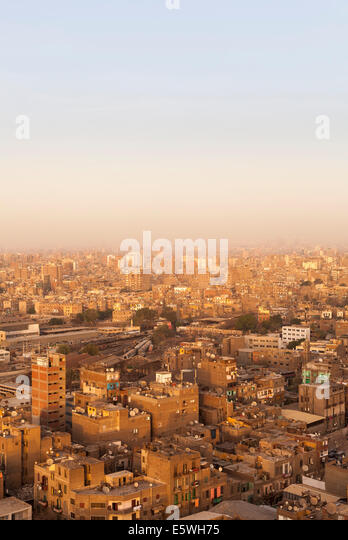 Roofs of slum buildings in downtown Cairo, Egypt - Stock Image