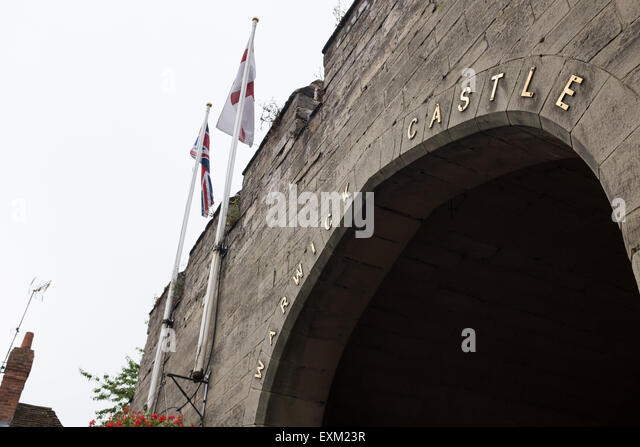 Entrance to warwick castle - Stock Image