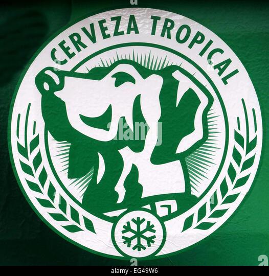 Logo of Canary Islands beer 'Tropical', Las Palmas de Gran Canaria - Stock-Bilder