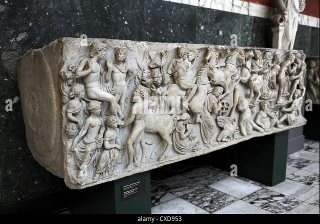 Roman Art. Sarcphagus Chest with the Phaeton Myth. The fall of Phaeton. Found in Ostia. Carlsberg Glyptotek. Copenhagen. - Stock Image