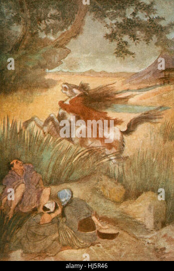 The Kappa and his Victim, Japanese Mythology - Stock Image