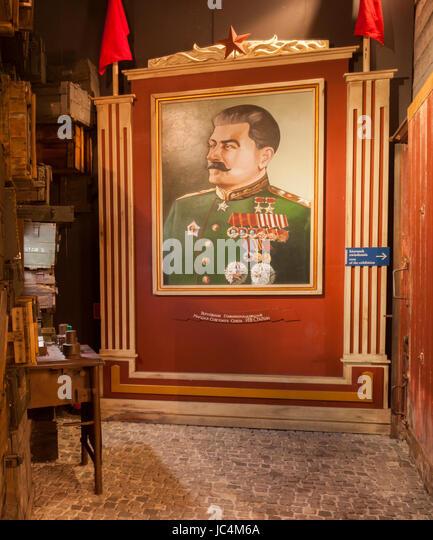Portrait of Joseph Stalin , Oskar Schindler´s Factory, Historical Museum of Krakow , Krakow, lesser Poland, - Stock-Bilder
