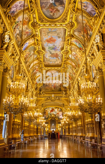 The Grand Foyer of Palais Garnier - Opera House, Paris France - Stock Image