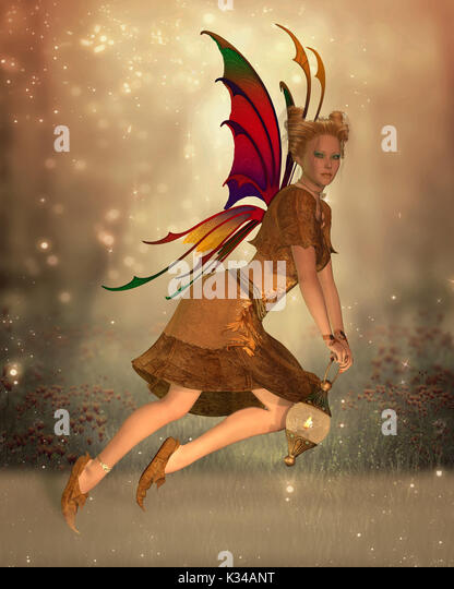 Fairy Isa flies through the magical forest at sunset holding a bright lantern to light her way. - Stock Image