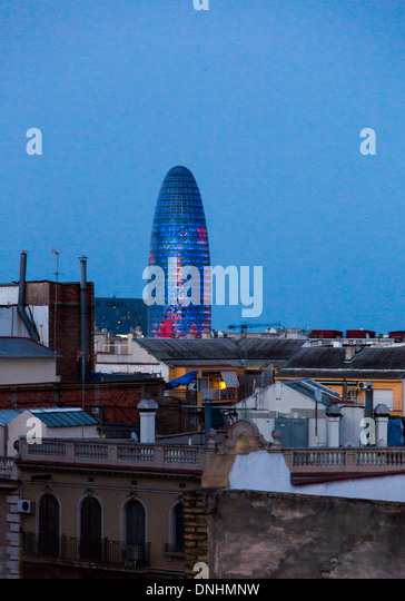Tower in a city, Torre Agbar, Barcelona, Catalonia, Spain - Stock-Bilder