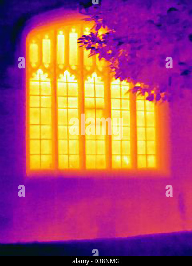Thermal image of ornate window - Stock Image