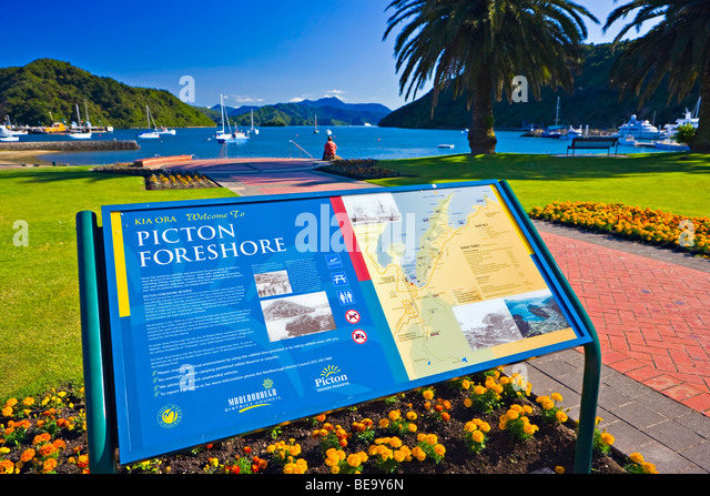 The Picton Foreshore, Picton, Marlborough, South Island, New Zealand. - Stock Image
