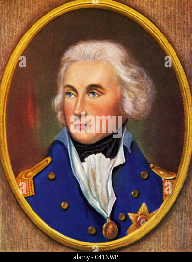 Nelson, Horatio, 29.9.1758 - 21.10.1805, British admiral, portrait, colour print after miniature by William Essex, - Stock Image