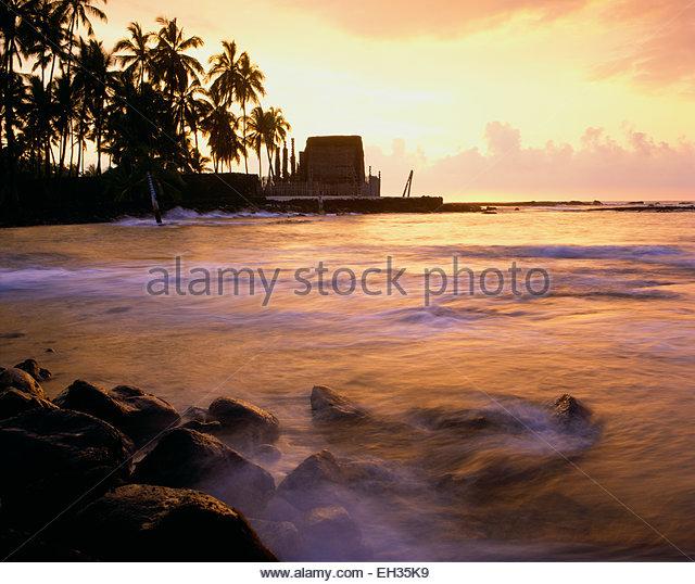 Pu'uhonua o Honaunau  National Historic Site.  Heiau, The Big Island, Hawaii. - Stock Image