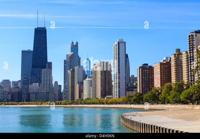 Chicago cityscape from North Avenue Beach, John Hancock Center on the left, Chicago, Illinois, USA - Stock Image