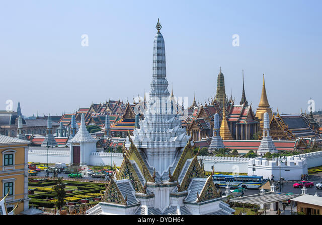 Thailand Asia Bangkok Royal Palace Wat Phra Kaew architecture colourful colours downtown famous history image palace - Stock Image