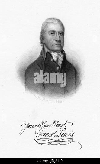 Engraved portrait of Francis Lewis, merchant and a signer of both the Articles of Confederation and the United States - Stock Image