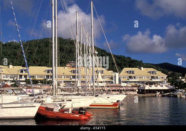 St Martin French West Indies Marigot Port Royale Marina - Stock Image