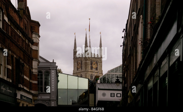 View of Borough Market with Southawk Cathedral London UK - Stock Image