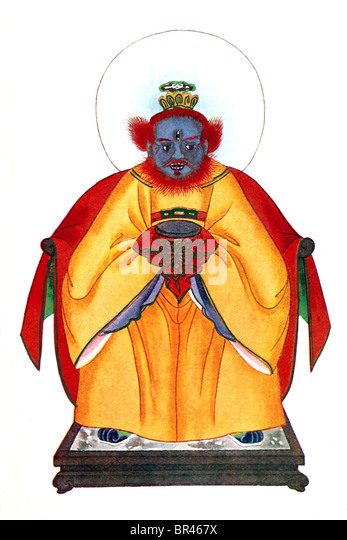 n Chinese mythology, Wen Chung , shown here with three eyes, is honored as the Minister of Thunder. - Stock Image