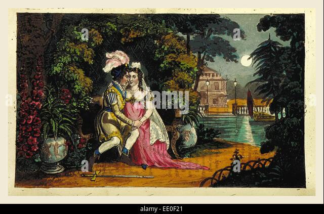 Don Juan. Cantos I.-V.  illustrations by I. R. Cruikshank, 19th century engraving - Stock Image