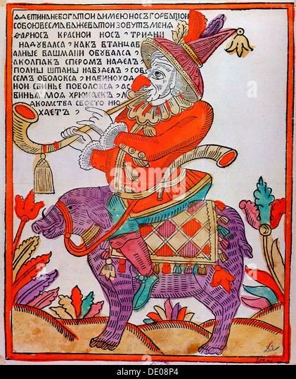 'The Jester Farnos the Red Nose', Lubok print, 18th century. - Stock Image